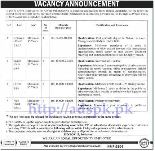Jobs Public Sector Organization P.O Box 13 Peshawar KPK Jobs for Research Officer Senior Clerk Driver Naib Qasid Jobs Application Deadline 14-06-2017 Apply Now