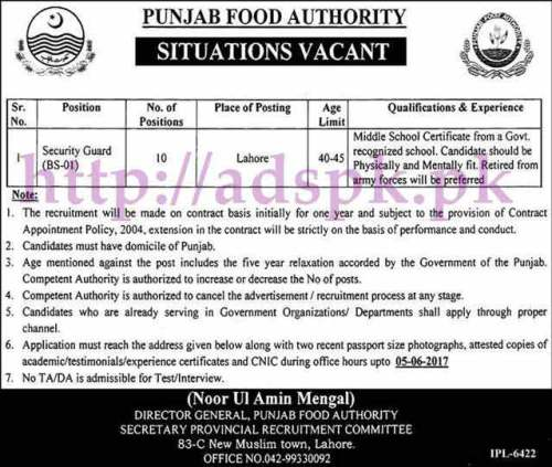 Jobs Punjab Food Authority Lahore Jobs 2017 for Security Guard Jobs Application Deadline 05-06-2017 Apply Now