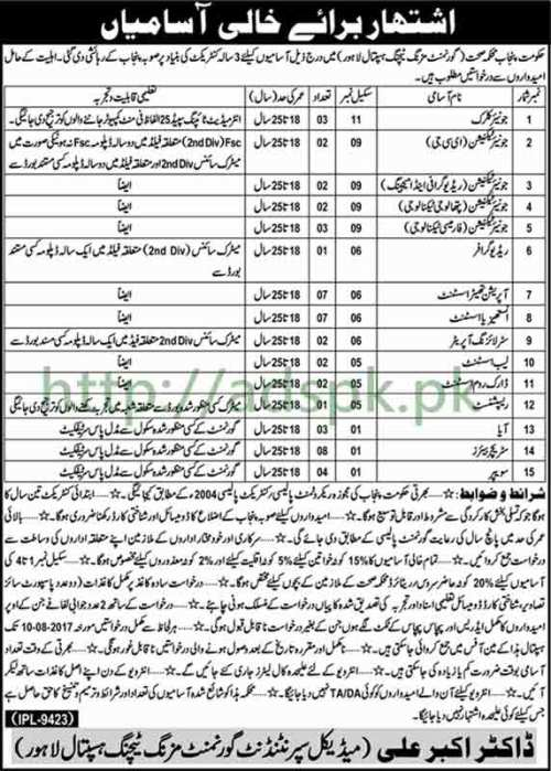 Jobs Punjab Government Mozang Teaching Hospital Lahore Jobs 2017 Junior Clerk Junior Technicians and Other Staff Jobs Application Deadline 10-08-2017 Apply Now