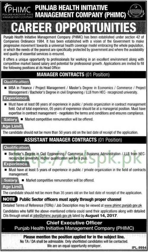 Jobs Punjab Health Initiative Management Company PHIMC Jobs 2017 Manager Contracts Assistant Manager Contracts Jobs Application Deadline 14-08-2017 Apply Now