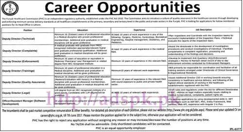 Jobs Punjab Healthcare Commission Jobs 2017 for Deputy Directors and Assistant Manager Software Development Jobs Application Deadline 07-06-2017 Apply Now