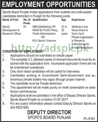 Jobs Sports Board Punjab Jobs 2017 for Sports Development & Research Officer Jobs Application Deadline 31-07-2017 Apply Now