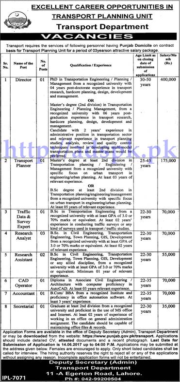 Jobs Transport Planning Unit Lahore Jobs 2017 Jobs Application Deadline 14-06-2017 Apply Now