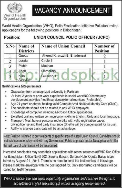 Jobs World Health Organization WHO Polio Eradication Initiative Pakistan Quetta Balochistan Jobs 2017 Union Council Polio Officer UCPO Jobs Application Deadline 01-08-2017 Apply Now