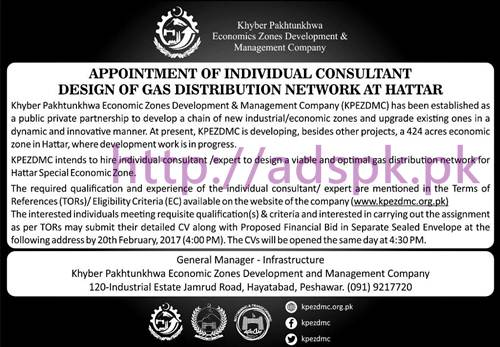 Khyber Pakhtunkhwa Economic Zones Development Management Company Jobs for Consultant Design of Gas Distribution Network at Hattar Application Deadline 20-02-2017 Apply Now