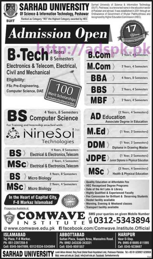 Latest Admissions 2016 Open Sarhad University of Science & Information Technology Peshawar for B.Tech BS Computer Science M.Sc BBA M.Com MBF M.Ed Apply Now