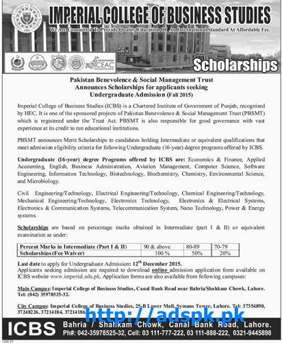 Latest Admissions Open 2015-16 ICBS Imperial College of Business Studies announced Scholarships for Undergraduate Students of Various Subjects Last Date 12-12-2015 Apply Online Now