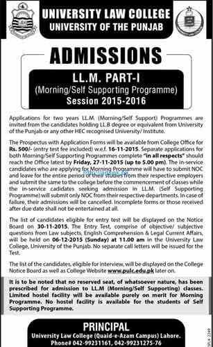 Latest Admissions Open 2015-16 of Punjab University for LLM (Part-I) Morning & Self Supporting Program) Last Date 27-11-2015 Apply Now
