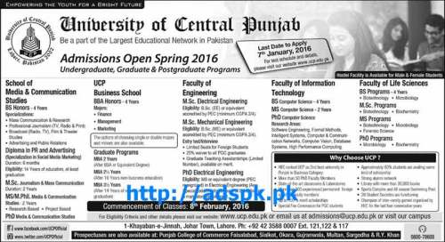 Latest Admissions Open Spring 2016 of University of Central Punjab for BS Honors BBA (Hons) M.Sc Electrical Engineering BSCS Last Date 07-01-2016 Apply Now