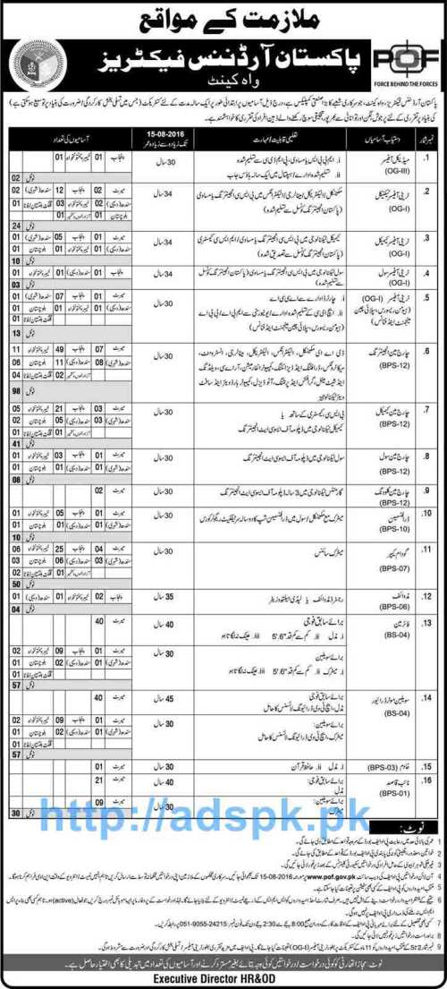 Latest Career Excellent Jobs POF Pakistan Ordnance Factories Wah Cantt Jobs for Medical Officer Trainee Officers (Technical Chemical Civil) Charge Man Engineering Applications Deadline 15-08-2016 Apply Online Now