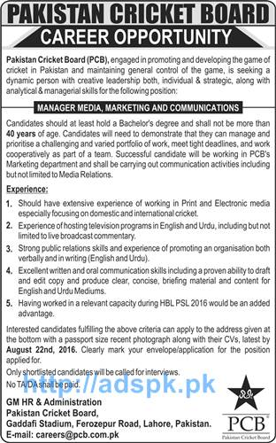Latest Career Excellent Jobs Pakistan Cricket Board (PCB) Lahore Jobs for Manager Media Marketing and Communications Application Deadline 22-08-2016 Apply Now