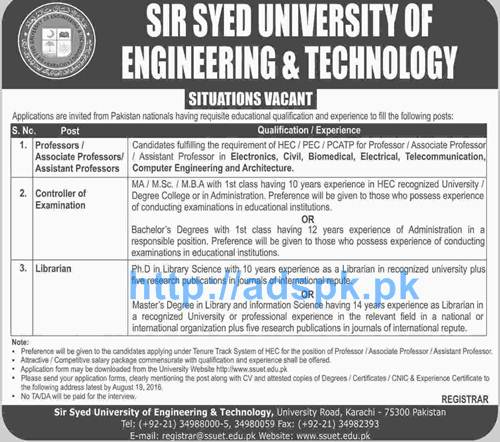 Latest Career Excellent Jobs Sir Syed University of Engineering & Technology Karachi Jobs for Professors Controller of Examination Librarian Applications Deadline 19-08-2016 Apply Now
