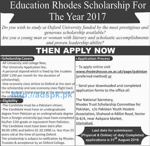 Latest Education Rhodes Scholarship 2017 Funded by Oxford University for Pakistani Undergraduate Degree Holders Applications Deadline 31-08-2016 Apply Online Now