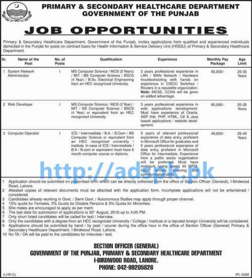 Latest Good Career Jobs in Primary & Secondary Healthcare Department Punjab Govt. Lahore Jobs for SNA Web Developer Computer Operator Application Submission Last Date 30-08-2016 Apply Now