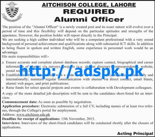 Latest Jobs of Aitchison College Lahore Jobs 2015 for Alumni Officer Last Date 15-11-2015 Apply Online Now