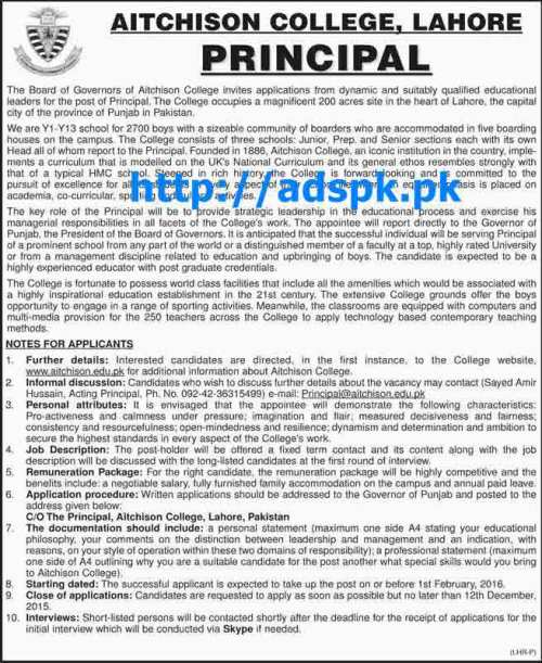 Latest Jobs of Aitchison College Lahore Pakistan Jobs 2015 for Principal Last Date 12-12-2015 Apply Now