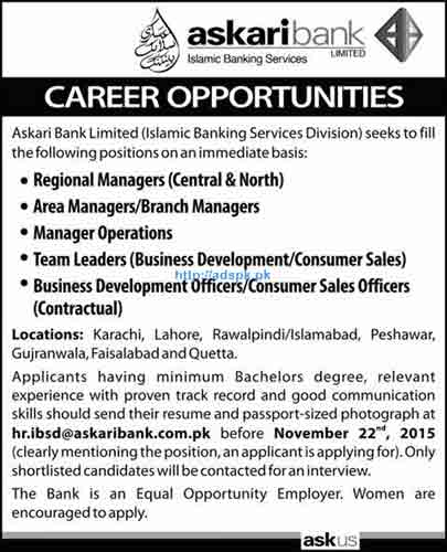 Latest Jobs of Askari Bank Limited (Islamic Banking Services Division Jobs 2015 for Regional Manager Area Manager and other Staff Last Date 22-11-2015 Apply Now