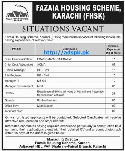 Latest Jobs of Fazaia Housing Scheme Karachi Jobs 2015 for FCA FCMA ACCA FCAEW ACMA Civil Engineers MBA and other Jobs Last Date 07-12-2015 Apply Now