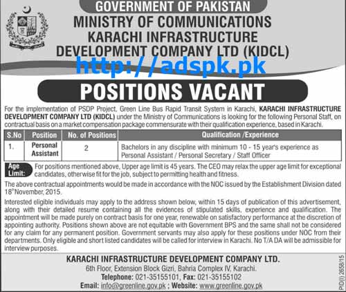 Latest Jobs of Govt. of Pakistan Ministry of Communications Karachi Infrastructure Development Company Ltd Jobs 2015 for Personal Assistant Last Date 10-12-2015 Apply Now