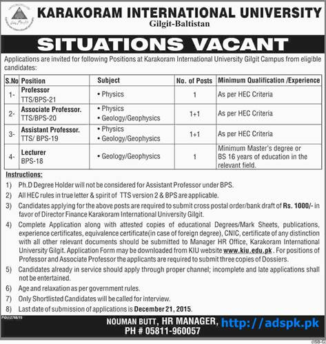 Latest Jobs of Karakoram International University Gilgit Baltistan Pakistan Jobs 2015 for Professors Associate Professor Assistant Professor (TTS) Lecturer Last Date 21-12-2015 Apply Now