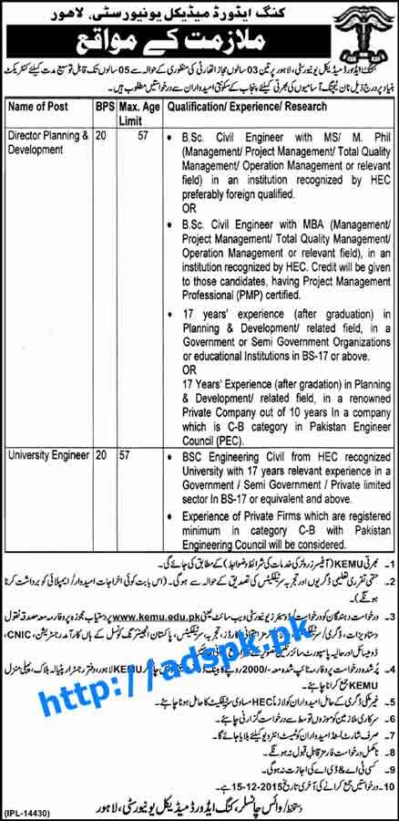 Latest Jobs of King Edward Medical University Jobs 2015 for Director Planning & Development University Engineer Last Date 15-12-2015 Apply Now