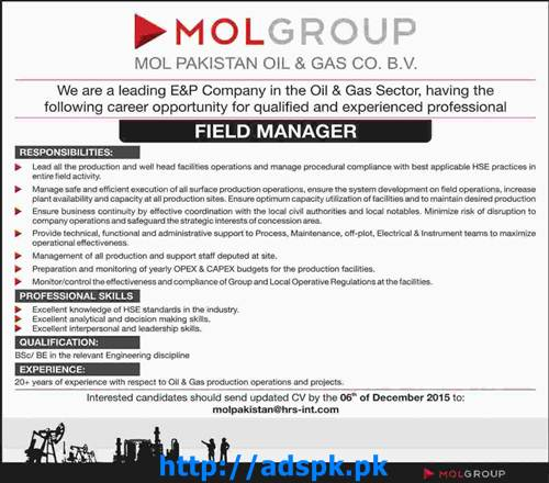 Latest Jobs of MOL Pakistan Oil & Gas Sector Jobs 2015 for Field Manager Last Date 06-12-2015 Apply Online Now