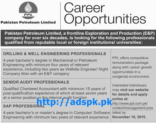 Latest Jobs of PPL Pakistan Petroleum Limited Jobs 2015 for Engineers (Mechanical Petroleum) Chartered Accountant SAP Professional Last Date 10-11-2015 Apply Online Now