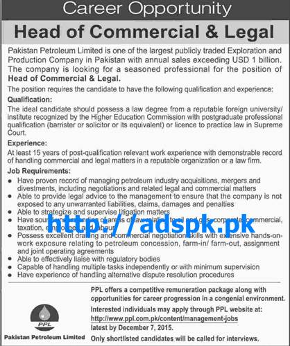 Latest Jobs of Pakistan Petroleum Ltd Jobs 2015 for Head of Commercial & Legal Last Date 07-12-2015 Apply Online Now