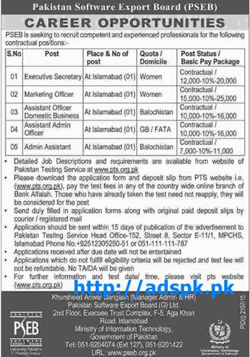 Latest Jobs of Pakistan Software Export Board (PSEB) Jobs 2015 for Executive Secretary Marketing Officer and other Staff Last Date 16-11-2015 Apply Now by Daily Dawn
