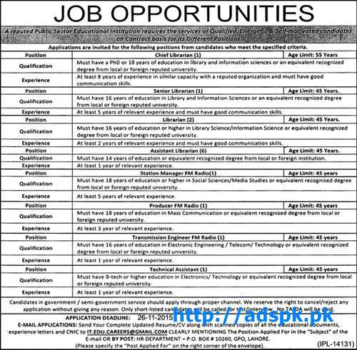 Latest Jobs of Educational Institution Public Sector Jobs 2015 for Chief Librarian Senior Librarian Station Manager FM Radio and other Technical Jobs Last Date 26-11-2015 Apply Now