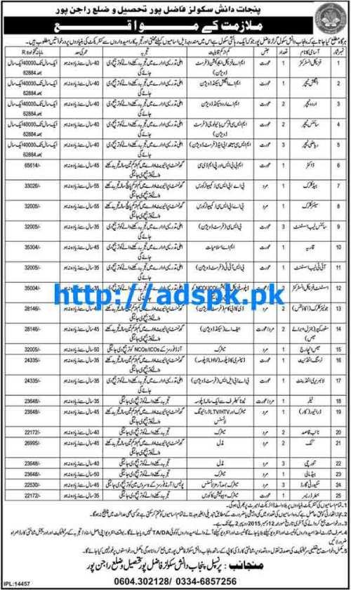 Latest Jobs of Punjab Daanish Schools Fazilpur District Rajanpur Jobs 2015 for Teachers Doctor Clerks and other Staff Last Date 12-12-2015 Apply Now