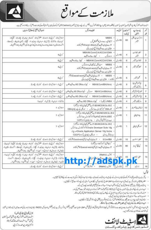 Latest Jobs of State Life Insurance Corporation of Pakistan Jobs 2015 for District Medical Officer Senior Account Officer Database Admin JAVA Developer Oracle Developer Last Date 04-12-2015 Apply Now