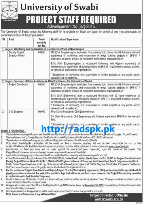 Latest Jobs of University of Swabi Ad No. 87 Jobs 2015 for Deputy Project Director (Works) Project Coordinator Civil Engineer Last Date 10-12-2015 Apply Now