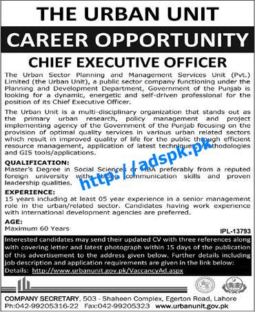 Latest Jobs of Urban Unit Sector Planning & Management Services Jobs 2015 for Chief Executive Officer Last Date 19-11-2015 Apply Now by Daily Jang