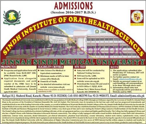 NTS Jinnah Sindh Medical University Sindh Institute of Oral Health Sciences Karachi for Pre-Admission Test (Session 2016-2017 B.D.S) Application Form Deadline 15-02-2017 Apply Now by NTS Pakistan