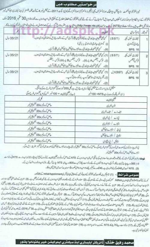 NTS Jobs Ad SST District Cadre KPK 2016-17 Elementary and Secondary Education Peshawar Written Test Syllabus Paper Jobs for SST (Biology Chemistry) SST (Physics Math) SST General NTS Application Form Last Date 30-09-2016 by NTS