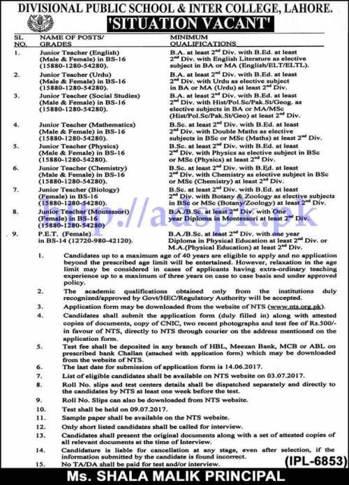 NTS Jobs Divisional Public School & Inter College Lahore Jobs 2017 Written Test MCQs Sample Paper for Junior Teachers (English Urdu Social Studies Math Physics Chemistry Biology Montessori) BPS-16 (Male-Female) P.E.T Female (BPS-14) Jobs Application Form Deadline 14-06-2017 Apply Now by NTS Pakistan