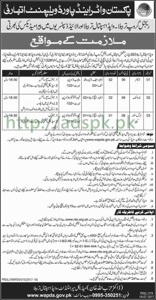 NTS Jobs WAPDA Regional Group Tarbela WAPDA Hospital Tarbela and Allied Dispensaries Jobs 2017 Written Test Syllabus Paper for Dispenser Midwife Drug Store Keeper Jobs Apply Now by NTS Pakistan