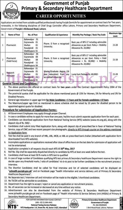 NTS New 47 Jobs Punjab Govt. Primary & Secondary Healthcare Department Jobs 2017 Written MCQs Test Syllabus Paper for Pharmacist (Field Force) Research Associate Jobs Application Form Deadline 30-05-2017 Apply Now NTS Pakistan