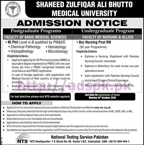 NTS New Admissions Open SZABMU Admission Test 2016-17 for B.Sc Nursing Post RN M.Phil (Chemical Pathology Hematology Histopathology Microbiology) Application Form Deadline 24-10-2016 Apply Now by NTS Pakistan