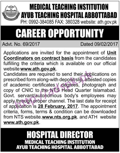 NTS New Career Excellent Jobs Ayub Teaching Hospital Abbottabad Medical Teaching Institution Jobs Written Test Syllabus Paper for Unit Coordinators Application Form Deadline 28-02-2017 Apply Now