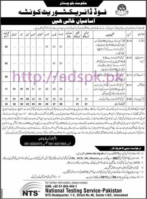 NTS New Career Excellent Jobs Food Directorate Quetta Govt. of Balochistan Jobs Written Test Syllabus Paper for Stenographer Assistant Computer Operator Assistant Food Controller Junior Clerk Food Grain Supervisor Application Form Deadline 28-02-2017 Apply Now by NTS Pakistan