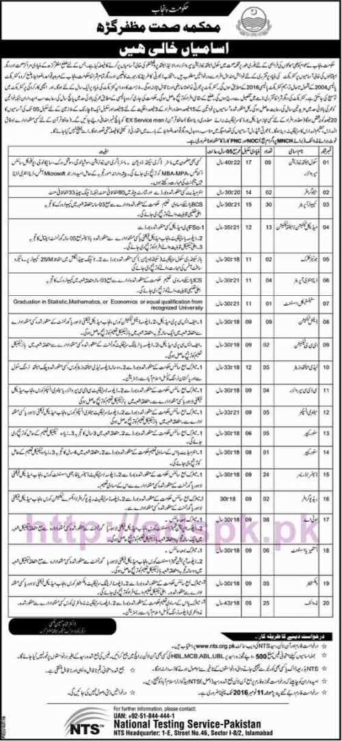 NTS New Career Excellent Jobs Punjab Health Department Muzaffargarh Jobs Written Test Syllabus Paper for School Health Nutrition Stenographer Computer Operator Medical Technician Junior Clerk Data Entry Operator Technicians LHV Store Keeper Dispenser Application Form Deadline 11-11-2016 Apply Now by NTS