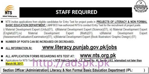 NTS New Career Excellent Jobs Literacy & Non - Formal Basic Education Department Written Test Syllabus Paper for Material Development Expert (Urdu Science English Math Assessment/Evaluation/Examination Book Illustration/ Graphic Design) Application Form Deadline 06-03-2017 Apply Now by NTS Pakistan