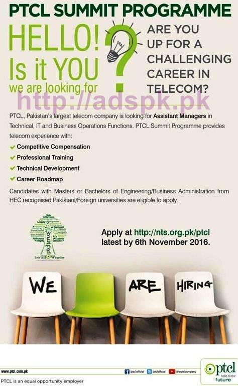NTS New Career Excellent Jobs PTCL Summit Program 2016-17 Jobs Written Test Syllabus Paper for Assistant Managers (Technical I.T Business) Application Form Deadline 06-11-2016 Apply Online Now by NTS Pakistan