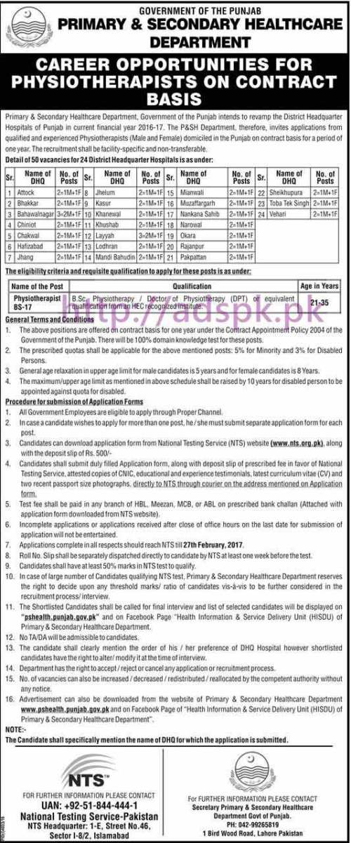 NTS New Career Excellent Jobs Primary & Secondary Healthcare Department Punjab Govt. Jobs Written Test Syllabus Paper for Physiotherapists (DPT) Application Form Deadline 27-02-2017 Apply Now