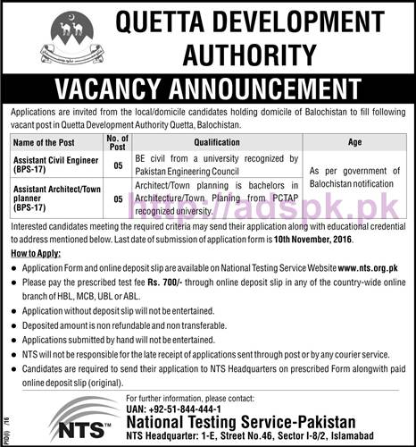 NTS New Career Excellent Jobs Quetta Development Authority Jobs Written Test Syllabus for Assistant Civil Engineer Assistant Architect / Town Planner Application Form Deadline 10-11-2016 Apply Now by NTS Pakistan