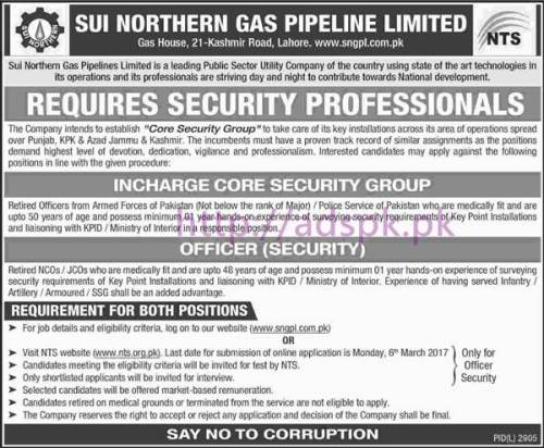 NTS New Career Excellent Jobs Sui Northern Gas Pipeline Limited SNGPL Jobs Written Test Syllabus Paper for Incharge Core Security Group & Officer Security Application Form Deadline 06-03-2017 Apply Now