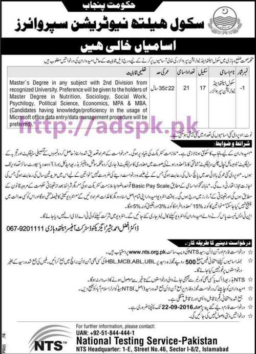 NTS New Career Jobs Health Department Written Test Syllabus Paper Recruitment Test for the Post of School Health & Nutrition Supervisor (BPS-17) Application From Deadline 22-09-2016 Apply Now by NTS Pakistan