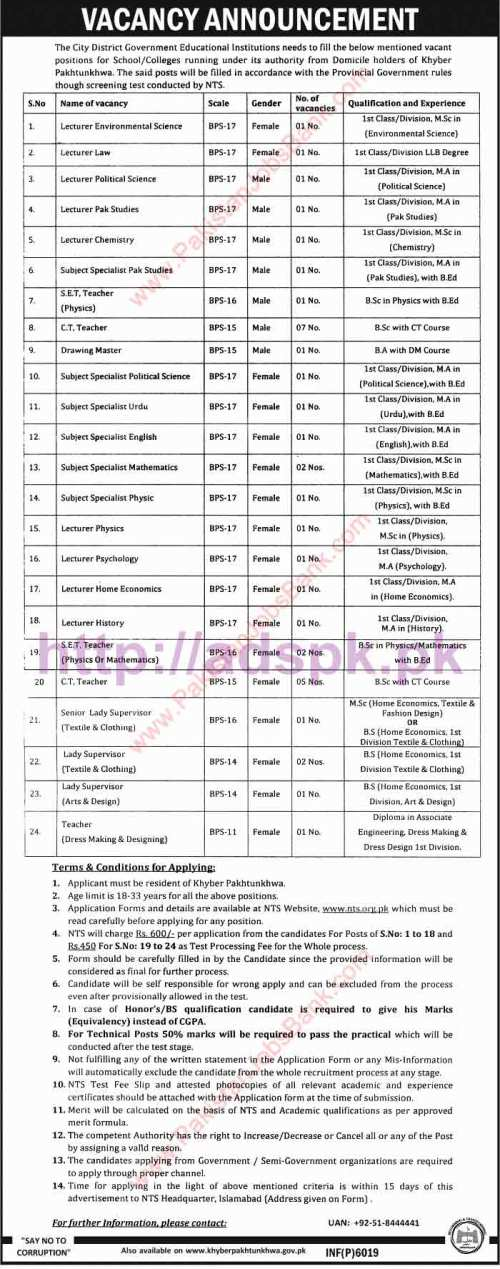 NTS New Excellent Career Jobs City District Government Educational Institutions Jobs Written Test Syllabus Paper for Lecturers Subject Specialists S.E.T Teacher C.T Teacher Drawing Master Lady Supervisor Application Form Deadline 05-11-2016 Apply Now by NTS Pakistan